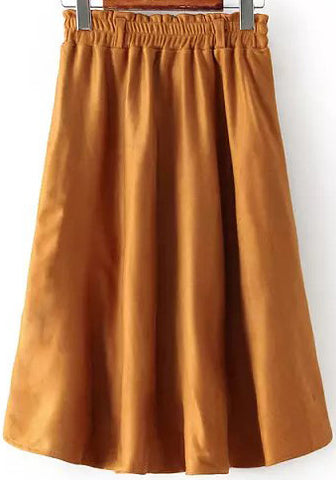 Camel Knee Length Suede Skirt