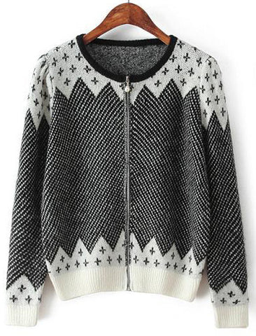 Black Long Sleeve Cross Pattern Knit Sweater
