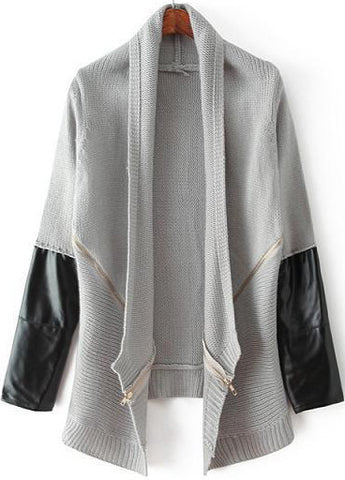 Grey Long Sleeve Contrast PU Leather Knit Cardigan