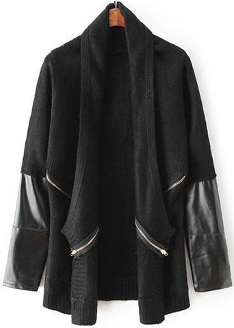Black Long Sleeve Contrast PU Leather Knit Cardigan