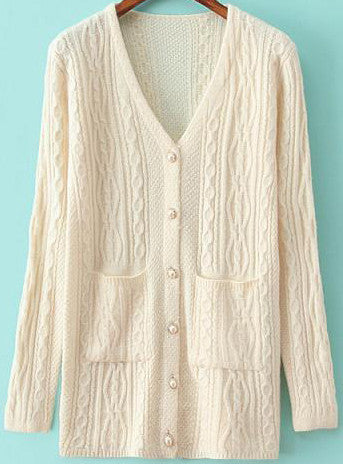 Beige V Neck Long Sleeve Pockets Sweater