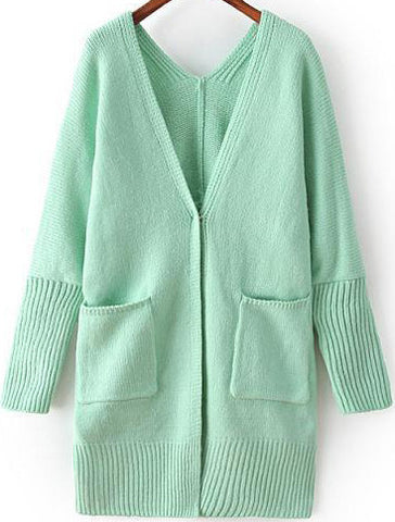 Green V Neck Long Sleeve Pockets Loose Sweater