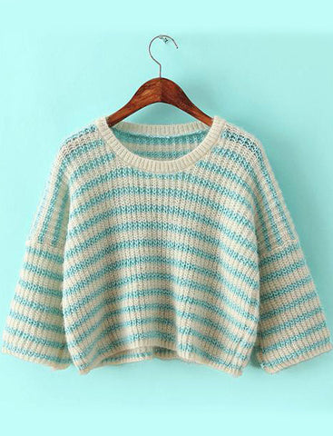 Green Round Neck Striped Knit Crop Sweater