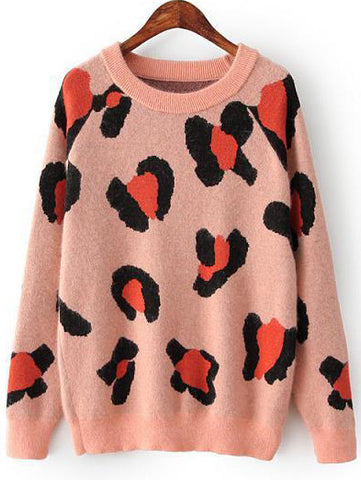 Pink Long Sleeve Leopard Knit Sweater
