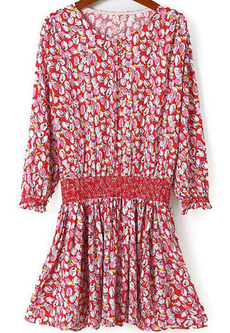 Red Round Neck Floral Pleated Dress