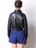 Black Long Sleeve Zipper PU Leather Crop Jacket