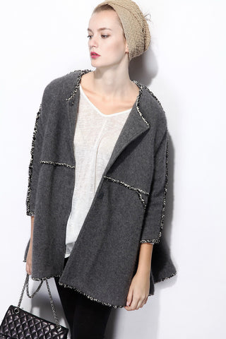 Grey Round Neck Long Sleeve Fringe Coat