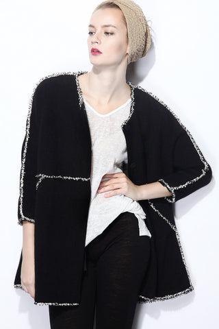 Black Round Neck Long Sleeve Fringe Coat