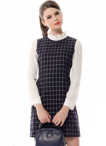 Blue Stand Collar Long Sleeve Plaid Dress