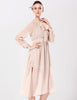 Apricot Long Sleeve Bow Split Chiffon Dress