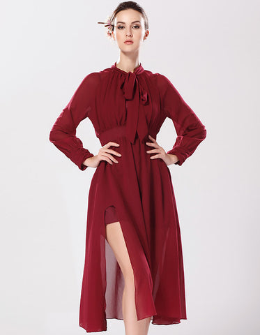 Wine Red Long Sleeve Bow Split Chiffon Dress