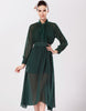 Green Long Sleeve Bow Split Chiffon Dress