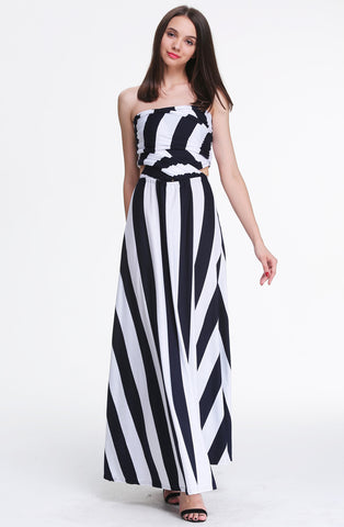 Blue V Neck Striped Loose Maxi Dress