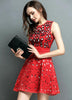 Red Sleeveless Slim Bead Hollow Dress