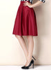Wine Red High Waist Flare Skirt