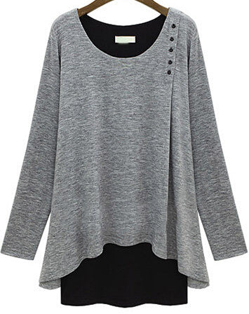 Grey Long Sleeve Buttons Loose Modal T-Shirt