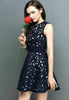 Navy Sleeveless Slim Bead Hollow Dress