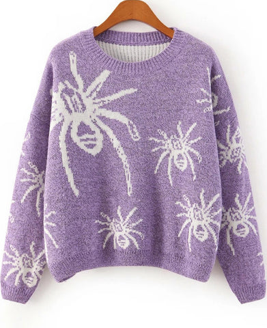 Purple Long Sleeve Spiders Print Knit Sweater