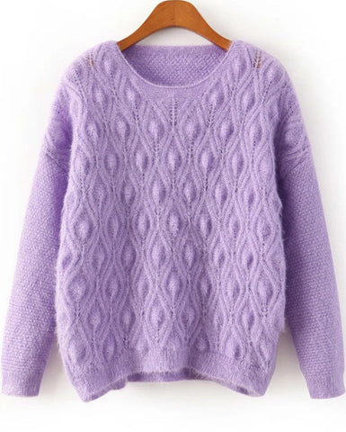 Purple Long Sleeve Diamond Patterned Shaggy Sweater