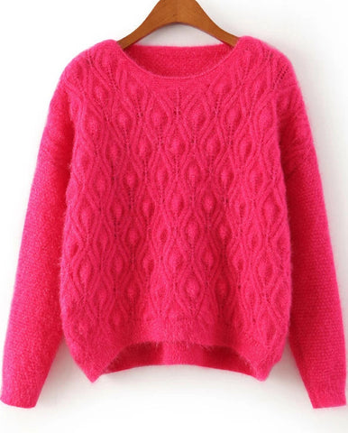 Red Long Sleeve Diamond Patterned Shaggy Sweater
