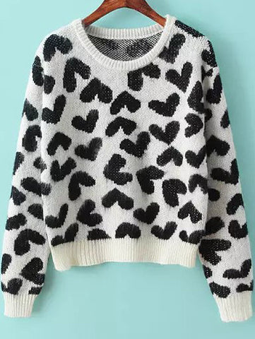 White Long Sleeve Heart Print Knit Sweater