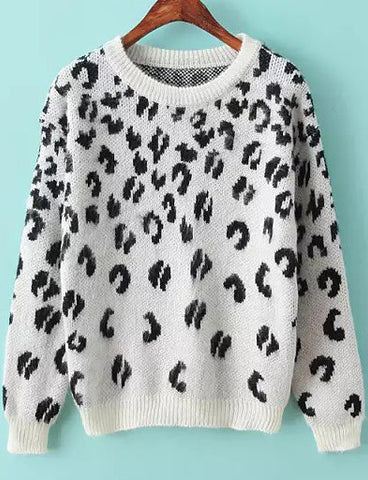 White Long Sleeve Leopard Mohair Knit Sweater