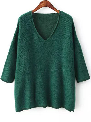 Green V Neck Long Sleeve Loose Knit Sweater