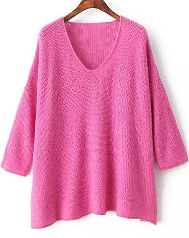Rose Red V Neck Long Sleeve Loose Knit Sweater