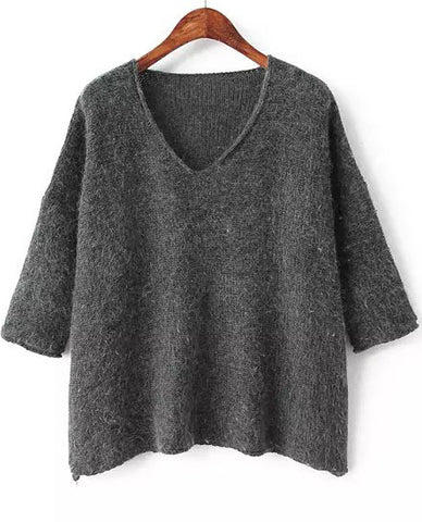 Dark Grey V Neck Long Sleeve Loose Knit Sweater