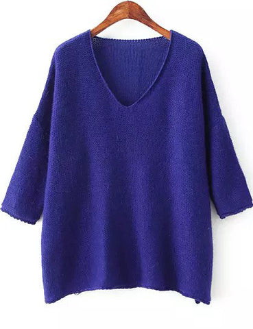Royal Blue V Neck Long Sleeve Loose Knit Sweater