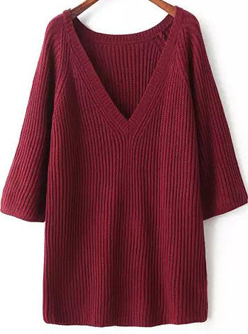 Red V Neck Long Sleeve Striped Knit Sweater