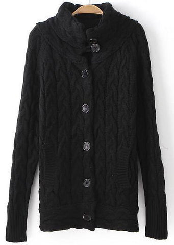 Black Stand Collar Pockets Cable Knit Sweater