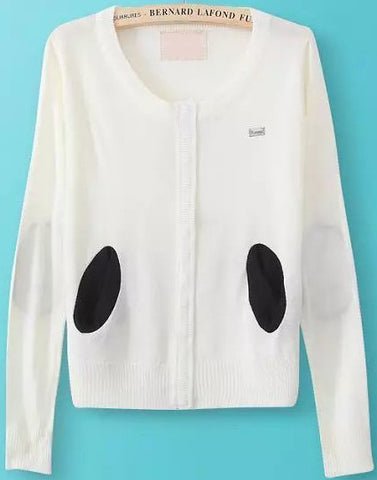 White Long Sleeve Elbow Patch Knit Sweater