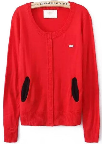 Red Long Sleeve Elbow Patch Knit Sweater