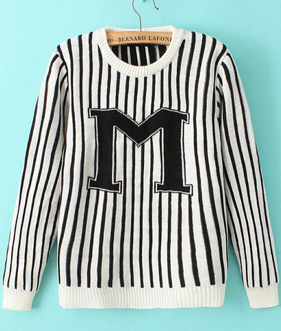 White Long Sleeve Vertical Stripe M Print Sweater