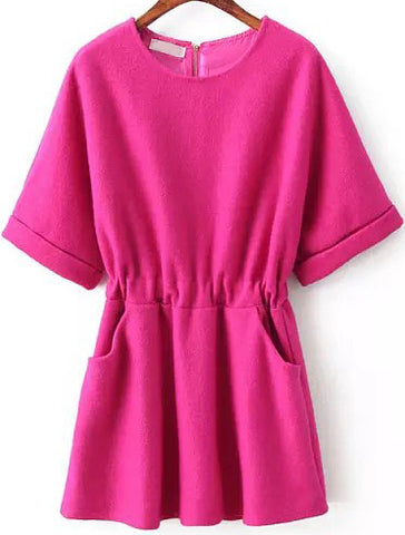 Rose Red Round Neck Short Sleeve Pockets Dress
