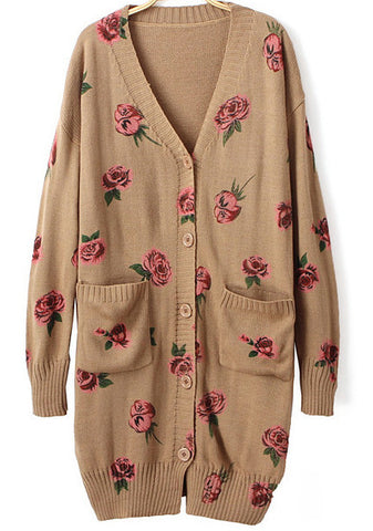 Coffee V Neck Rose Print Pockets Cardigan
