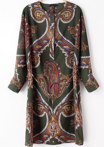 Green Long Sleeve Totem Print Dress
