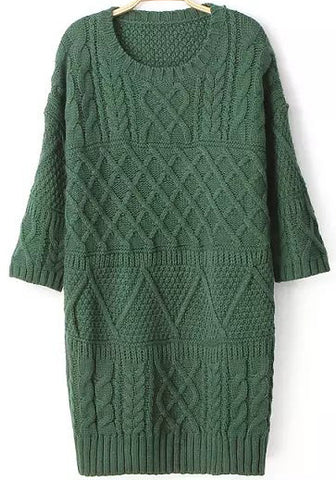 Green Half Sleeve Split Cable Knit Dress