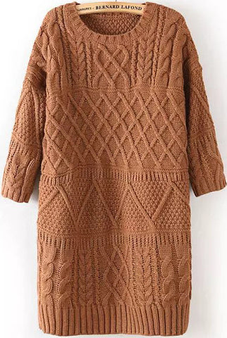 Coffee Half Sleeve Split Cable Knit Dress