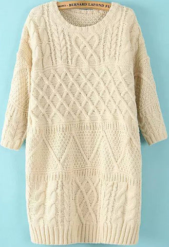 Beige Half Sleeve Split Cable Knit Dress