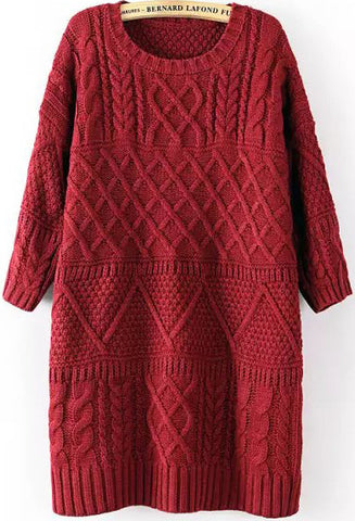Wine Red Half Sleeve Split Cable Knit Dress