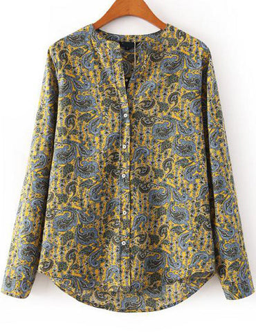 Yellow Long Sleeve Cashews Print Loose Blouse