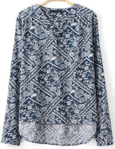 Navy Long Sleeve Cashews Print Loose Blouse