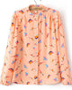 Pink Long Sleeve Birds Print Chiffon Blouse