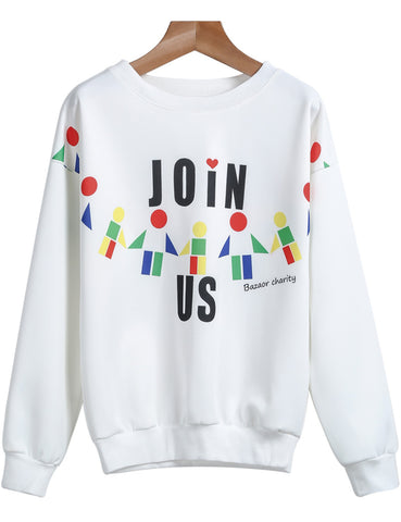 White Long Sleeve JOIN US Print Sweatshirt