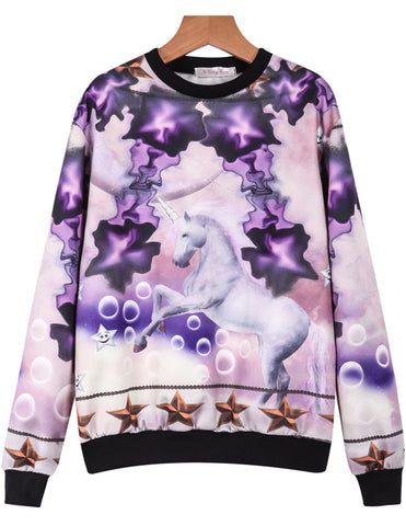 Purple Long Sleeve Unicorn Print Sweatshirt
