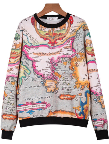 White Long Sleeve Map Print Loose Sweatshirt