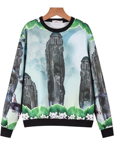 Green Long Sleeve Peaks Butterfly Print Sweatshirt
