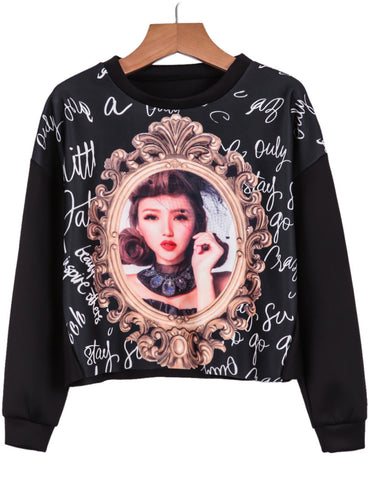 Black Long Sleeve Mirror Beauty Print Sweatshirt